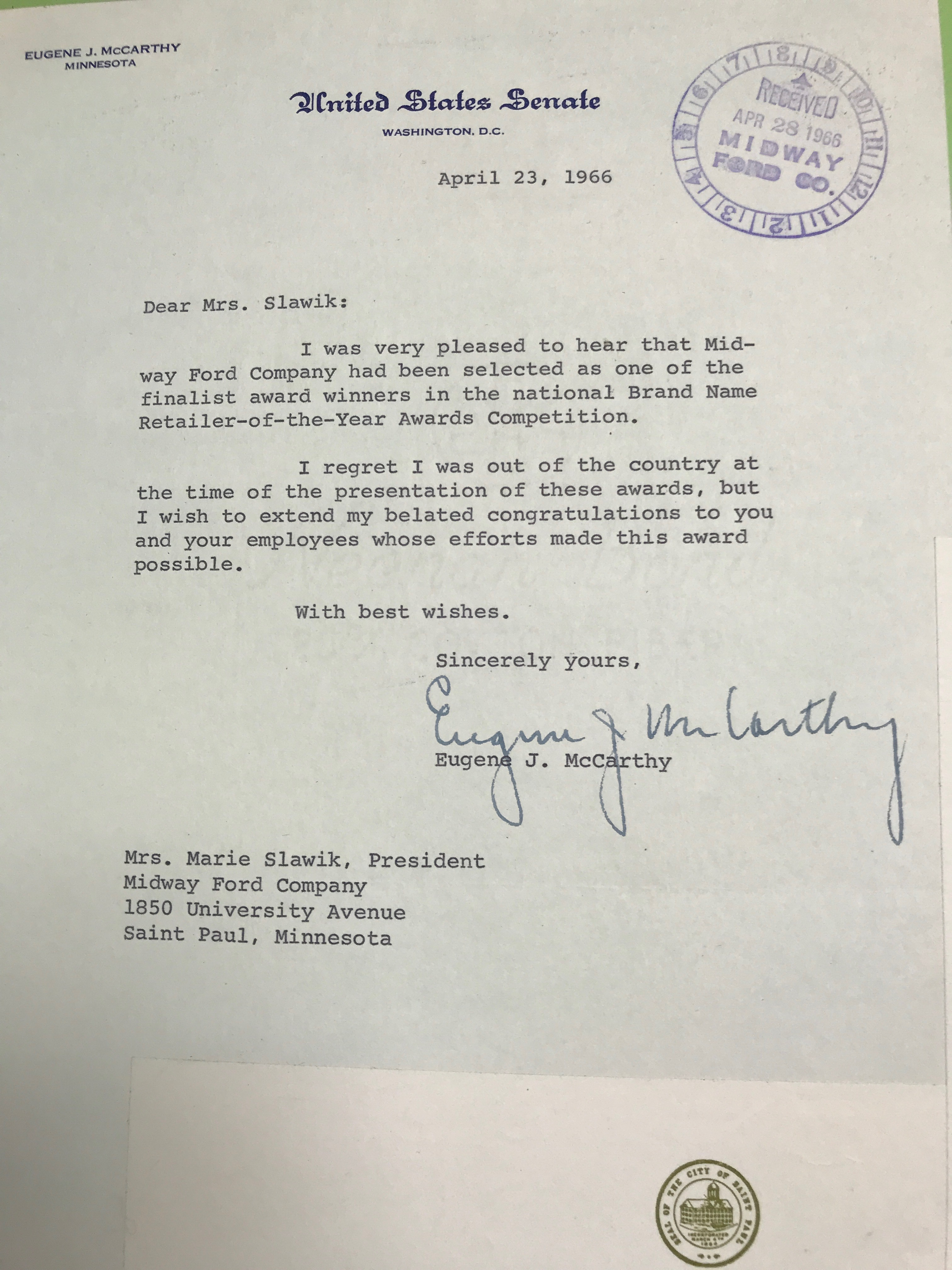 Letter from Eugene McCarthy