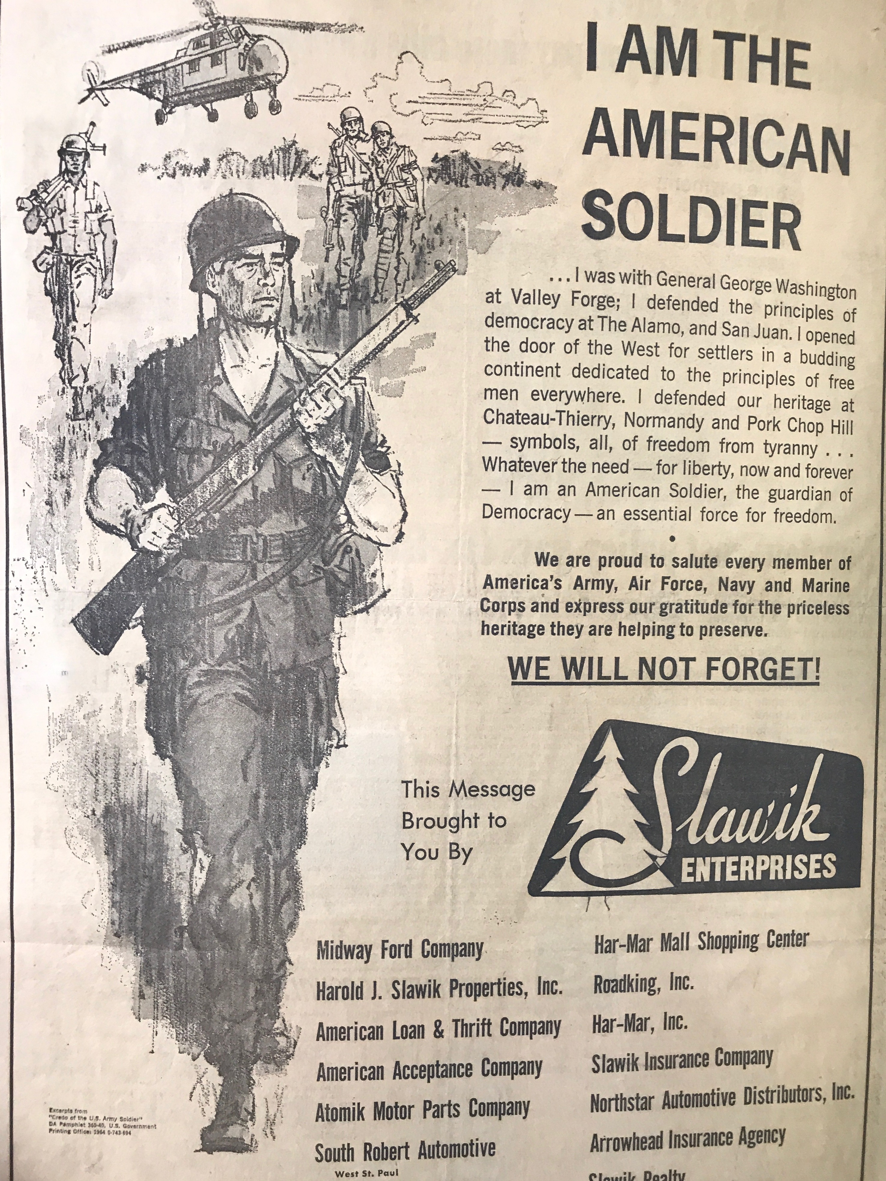 Vintage Support Troops Ad